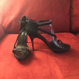 NIB, never worn. Black satin, sequined stiletto.